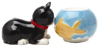 Cat and Fish Bowl Magnetic Salt & Pepper Shakers