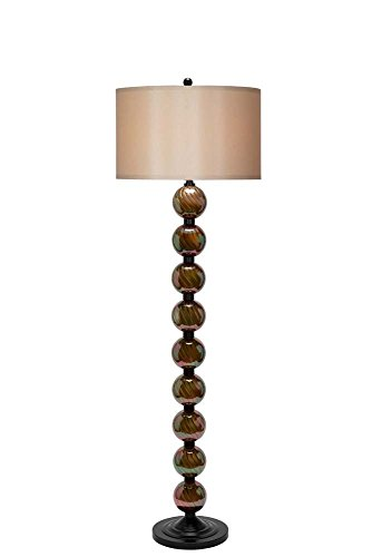 "Catalina Lighting 20698-001 Traditional Ribbed Glass Stacked Ball Floor Lamp, LED Bulb Included, 64.5""H, Pearl Bronze"
