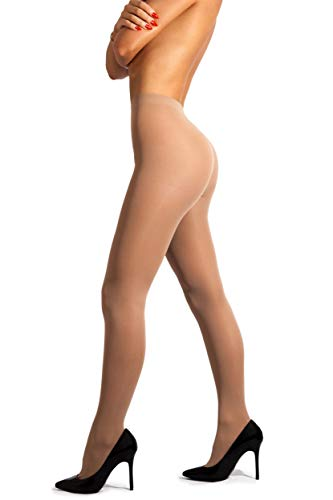 No Bind Waistband Control Top - sofsy Opaque Microfibre Tights for Women - Invisibly Reinforced Opaque Brief Pantyhose 40Den [Made In Italy] Natural Beige Nude 4 - Large