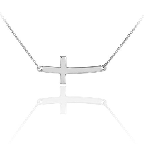 Sterling Silver Sideways Curved Necklace product image