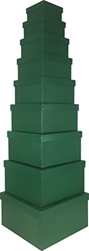 Cypress Lane Square Gift Boxes, 11 inches, a Nested Set of 9 (Green)
