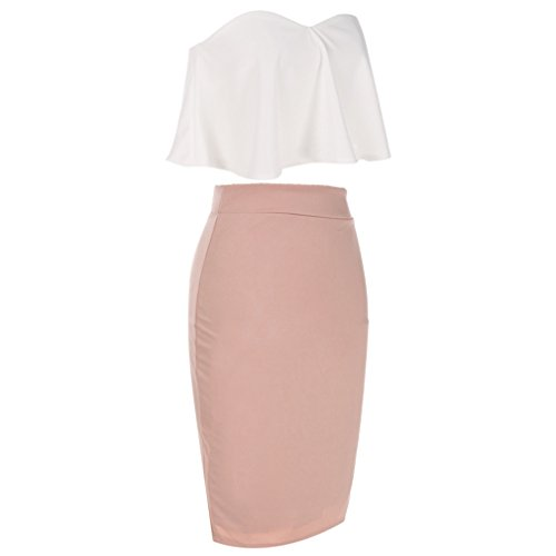 Dolland Women's Crop Top & Skirt Outfit Two Piece Bodycon Bandage Party Dresses,White,S by Dolland (Image #3)