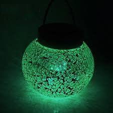 LiteFuze Mosaic Glass Rechargeable Solar Lamp Outdoor Garden String Light – Green