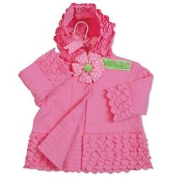 Mud Pie Baby Little Sprout Cotton Ruffle Hooded Jacket, Pink, 0-6 Months