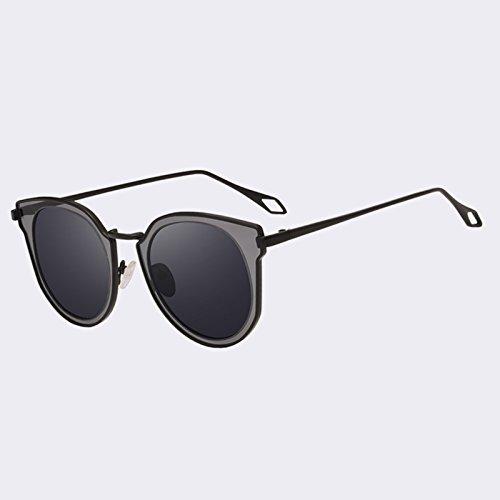 las sol de Gafas Ojo de gafas mujeres Gato C01Gray sol C02Rosa espejo estilo TIANLIANG04 de de Gafas parcial de UV400 gafas de clásico lentes manera de 1qw1ad
