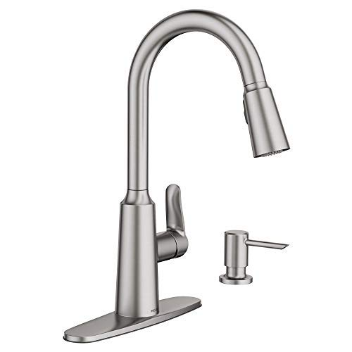 Moen 87028SRS Edwyn Spot Resist Sta Inless 1Handle Deck Mount Pulldown Kitchen Faucet, Stainless Steel