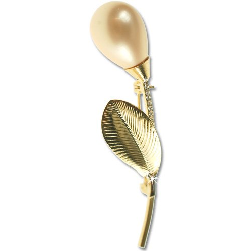 Paris Pear Drop Pearl Brooch, Bud & Leaf Parisian Haute Couture Style with Swarovski Crystals, Precious Metal Plated - Light-Peach, Janeo Jewels