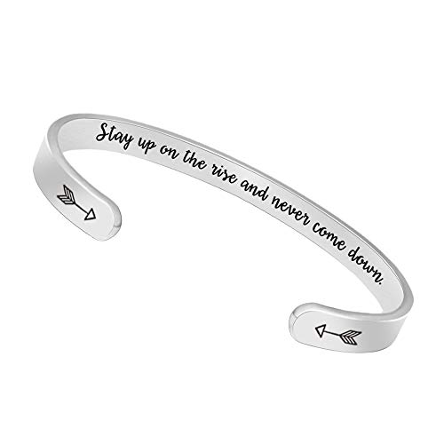 Bangle Bracelets Birthday Gifts for Women Men Inspirational Cuff Bangle Personalized Mantra with Gift Box (Stay up on The Rise and Never Come Down)