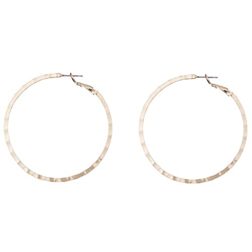 Big Hoop Earrings- Copper material Hypoallergenic Gold Plated Plated Silver Rounded Rose Gold hoop earrings (Yellow5)