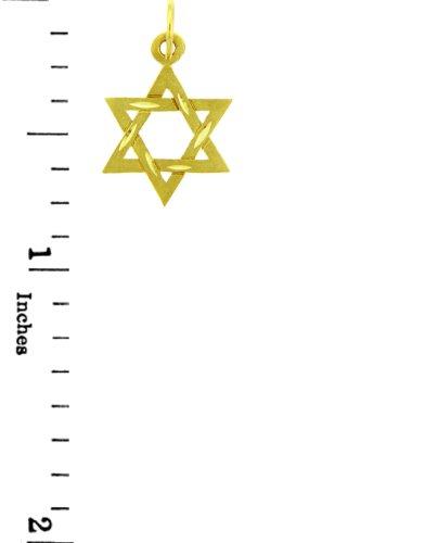 Petits Merveilles D'amour - 14 ct 585/1000 Charm Juive - 14 kt diamant or Jaune Coupe Étoile de David Pendentif