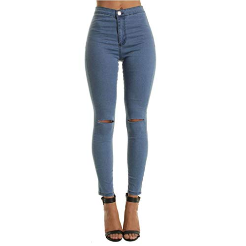 Women Jeans Pants, JOYFEEL Ladies Casual Cotton Skinny Stretch Trousers Front Button Ripped High Waisted Demin Pants Blue