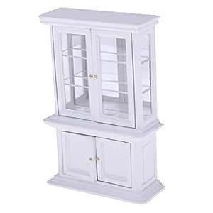 Baoblaze Wooden Toys Display Cabinet Sideboard Cabinet Display Cabinet 1/12 Dolls House Miniature Living Room Furniture Decor