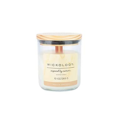 Wickology Aromatherapy Scented Jar Candle, Vanilla Orchid, 10 Ounces, Ivory