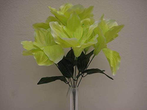 JumpingLight 6 Bushes Green Amaryllis 6 Artificial Silk Flowers 16'' Bouquet 647GR Artificial Flowers Wedding Party Centerpieces Arrangements Bouquets Supplies - Amaryllis Bush