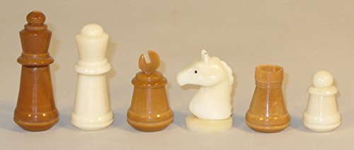 Unigifts Staunton Chessmen - Brown and Natural Hand-Carved Tagua Nut by Uni Filter