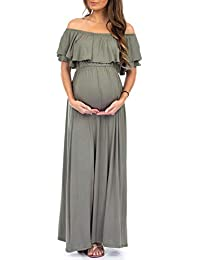 Women's Open Shoulder Maternity Dress with Ruffles - Made...