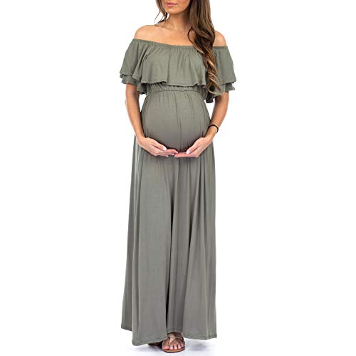 Open Shoulder Maternity Dress with Ruffles - Made in USA