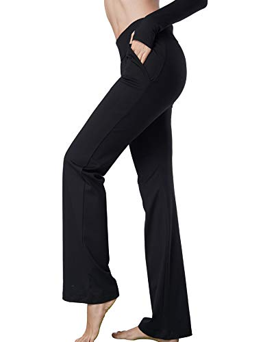 Harsmile Women's Stretch Bootcut Yoga Pants with Pockets, Tummy Control Workout Fitness Work Long Bootleg Yoga Pants (Black, XX-Large)