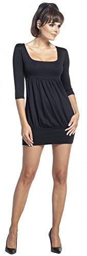 Zeta Ville - Vestido túnica cintura imperio escote cuadrado - para mujer - 954z Negro