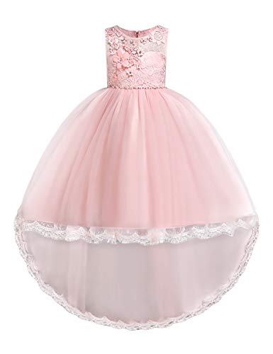 JOYMOM Bridesmaid Dresses for Girls,Scoop Neck Sleeveless Aline Tiered Flare Evening Gowns Kid Skin Friendly Breathable Beautiful Dress Girl Wedding Clothes Light Pink Size(110) 3-4 Years