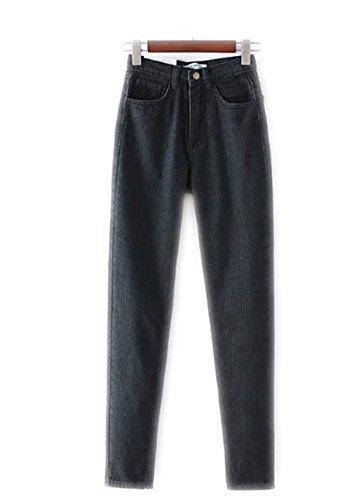 Las mujeres de cintura alta Denim Jeans Vintage Slim Mom estilo lápiz pantalones vaqueros de mezclilla para 4 estaciones Ash Black
