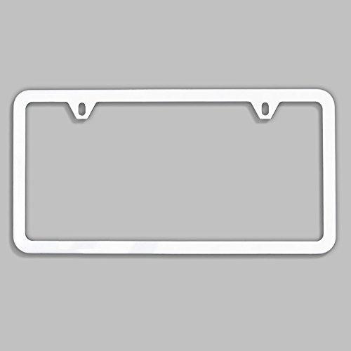 - UFRAME Slim Style 2 Screw Holes Stainless Steel License Plate Frame Holder (White)