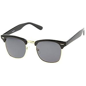 zeroUV - Half Frame Semi-Rimless Horn Rimmed Sunglasses (Black-Gold/Smoke)
