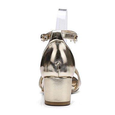 LvYuan Tacón Robusto-Confort Zapatos del club-Sandalias-Oficina y Trabajo Vestido Fiesta y Noche-PU-Morado Plata Oro Purple