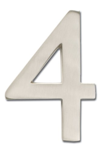 Architectural Mailboxes 3585SN-4  Brass 5-Inch Floating House Number 4, Satin Nickel
