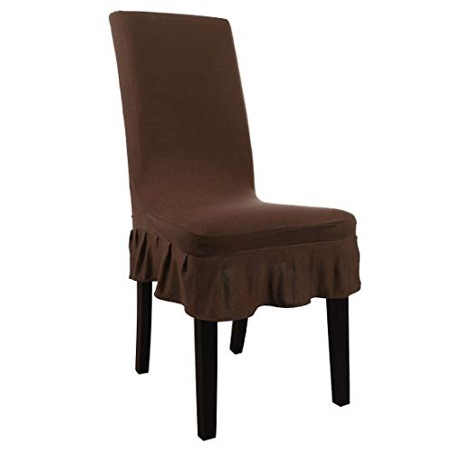 uxcell Stretch Spandex Short Dining Room Chair Covers Ruffled Skirt Slipcover Multi-Color Chair Seat Covers Coffee Color