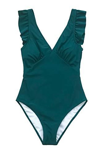 6e27d4d9e6 CUPSHE Women's Royal Elegance V Neck Falbala Shoulders One Piece Swimsuit  (Large (USA 12/14), Teal)