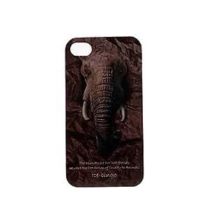JJEAnimal Series Elephant Pattern Plastic Hard Case for iPhone 4/4S