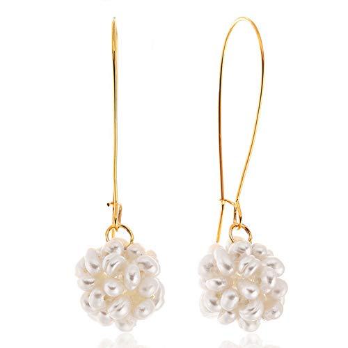 (KAMILLE Dangle Pearl Earrings for Women - Gold Hoop Earrings for Women, Earrings for Girls, Gift for Wedding (Pearls Flower Earrings))
