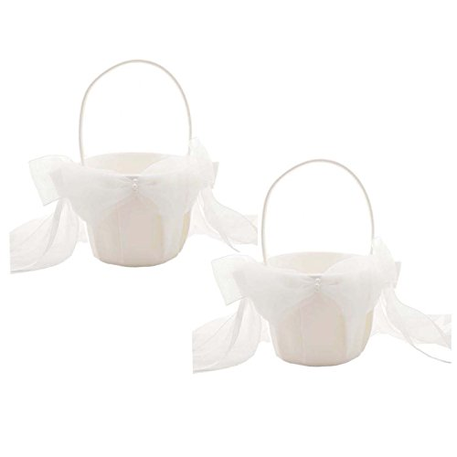 HESHIFENG. party & accessories Elegant Satin Bow Flower Girl Basket 2 pcs/pack