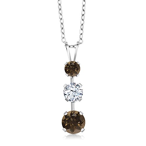 Gem Stone King 1.56 Ct Round Brown Smoky Quartz White Topaz 925 Sterling Silver 3 Stone Pendant ()