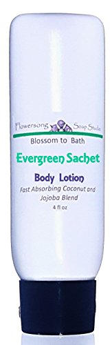 Pure Vegetable Soap Water Lily - Flowersong Evergreen Sachet Lotion - Fast Absorbing Coconut and Jojoba Blend - 4 oz tottle