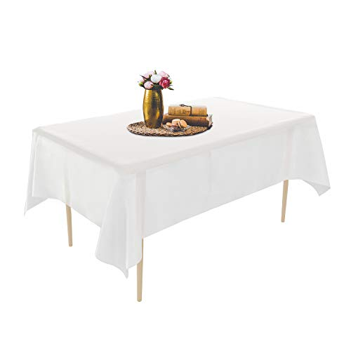 Puricon 6 Pack Disposable Plastic Tablecloths 54 x 108 Inch Premium Rectangle Table Cover -White