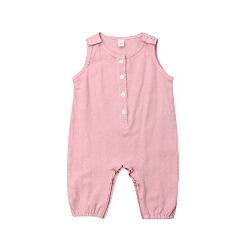 xueliangdedianpu Unisex Baby Summer Rompers Sleeveless Button One-Piece Solid Color Jumpsuit for Infant Toddlers (Pink, 0-6 Months) ()