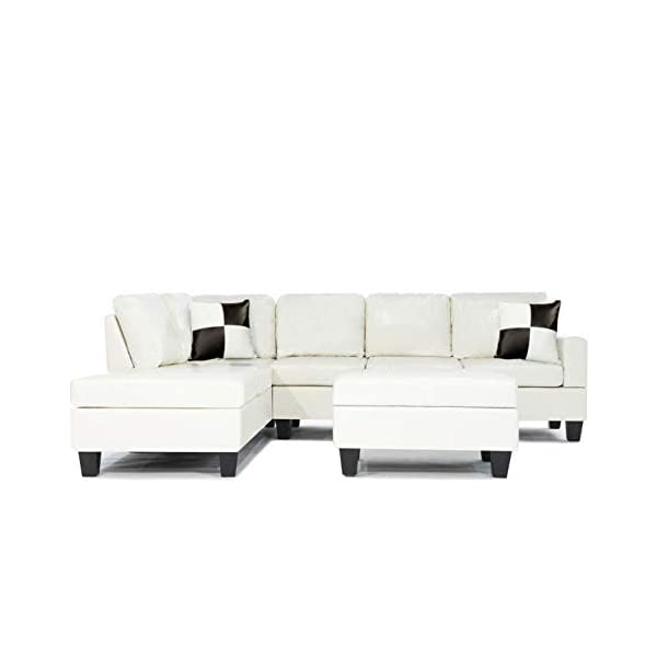Soft Touch Reversible PU Leather 3-Piece Sectional Sofa Set, White (White)
