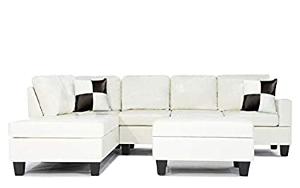 Amazon.com: Soft Touch Reversible PU Leather 3-Piece Sectional Sofa ...