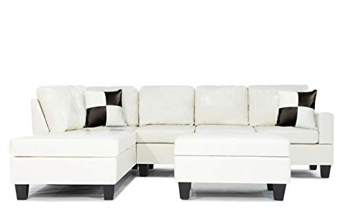 (Soft Touch Reversible PU Leather 3-Piece Sectional Sofa Set, White (White))