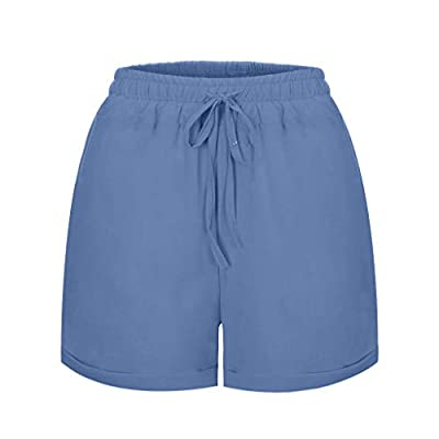 Xinantime Womens Casual Frill Trim Drawstring Waist Rolled Hem Shorts Hot Pants Loose Tie Waist Pant: Clothing