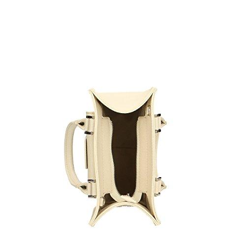 Chicca Borse Handtasche aus echtem italienischem Leder 21x20x10 Cm Beige 9H2R6tgmtv