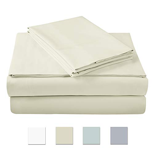500 Thread Count 100% cotton Sheet Set, Ivory Queen Sheet Set, 4-piece Long Staple Combed Pure Cotton best sheets for bed, Breathable, Soft & Silky Sateen Weave Fits Mattress upto ()