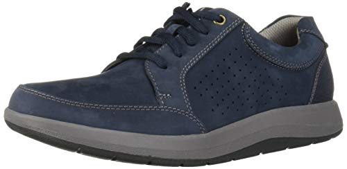 CLARKS Men's Shoda Walk Waterproof Sneaker, Navy Nubuck, 110 W - Leather Nubuck Shoes