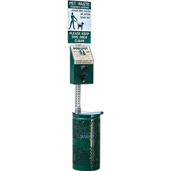 DOGIPOT 1003-L Pet Station Includes Sign, Dispenser, Steel Receptacle, Litter Bag Rolls and Liner Trash Bags, Forest Green by Dogipot