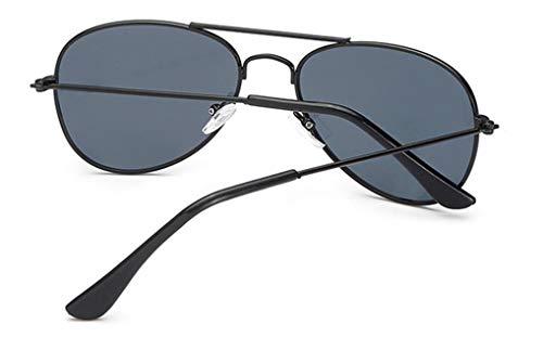 3a25b0237832 WODISON Classic Kids Aviator Sunglasses Reflective Metal Frame Children  Eyeglass Black Frame Black Lens