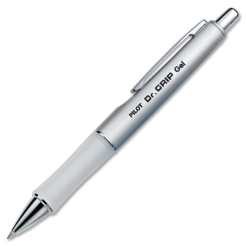 Pilot Dr. Grip Limited Retractable Rolling Ball Gel Pen, Fine Point, Platinum Metallic Barrel, Black Ink (36272)