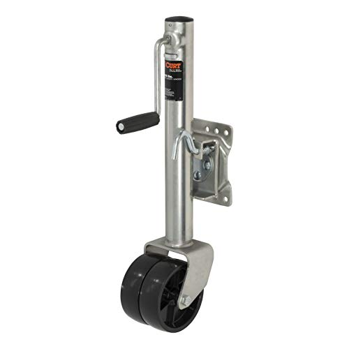 CURT 28155 Boat Trailer Jack with 6-Inch Wheels, Supports 1,500 lbs., 12-Inch Vertical Travel