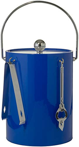 (Hand Made In USA Blue Double Walled 5-Quart Insulated Ice Bucket With Ice Tongs & Bottle)